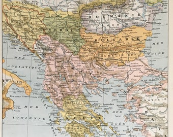 BALKANS.Old map. 1904's. Old print.Color. 12,2 ins  x 9,45 ins