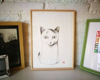 Cat. Nº 10. Original drawing. Pencil on paper. 29.5x21 centimeters. Gift, Christmas, petite illustration, cats, pets, animals.