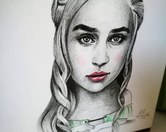 Khaleesi. Game of Thrones. Mini portrait 14x14 centimeters Original drawing made in pencil.