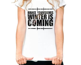 Womens Winter is coming Game of Thrones - Printed Cotton White T-shirt