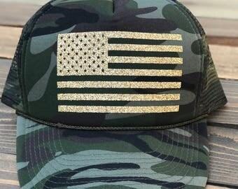 American Flag Camo Trucker Hat, USA Trucker Hat, Fourth Of July Trucker Hat, Military Trucker Hat,