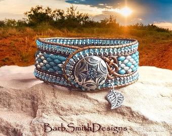 "Turquoise Silver Bracelet-Beaded Leather Bracelet-Cuff Bracelet-Cowgirl-Southwest-Size 7 1/4""-Custom Sizes-La Vaquera in Marbled Turquoise"