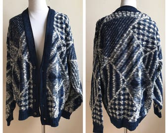 Vintage 80s Oversized Cardigan | Blue Patchwork Cardigan | Hipster Cardi | Mr. Rodgers Sweater | Trending Fashion 2017 | Sweater Weather