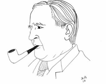 black and white print of author J.R.R. Tolkien