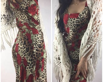 90's Rose and Leopard Print Gown