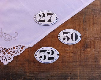 Oval plates numbered enamel white - door plates - furniture business decor
