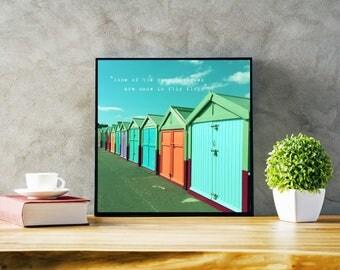 Coloured Beach Huts Quote Photography, Beach Print, Summer Decor, Beach House Photo, Green blue orange Square Print
