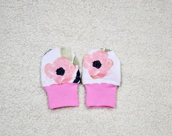 Floral Baby Mittens, Baby Girl Mittens, No Scratch Baby Mittens, Gloves, Baby Gift