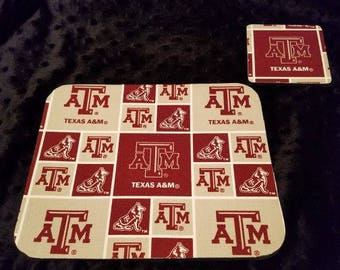 Texas A & M Aggies Mouse Pad and Coaster set