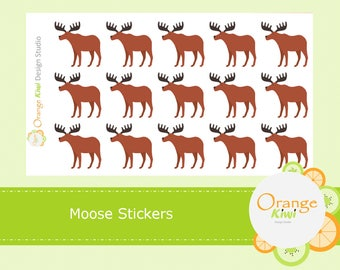 Moose Stickers, Moose Planner Stickers, Animal Stickers, Forest Animals