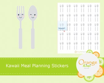 Meal Planning Stickers, Kawaii Stickers, Food stickers, Lunch Stickers, Dinner Stickers, Planner Stickers