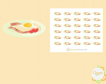 Bacon and Eggs Stickers, Breakfast Stickers, Food Stickers, Planner Stickers