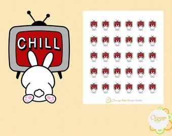 Netflix and Chill Stickers, Movie Night Stickers, Bunny Stickers, Planner Stickers