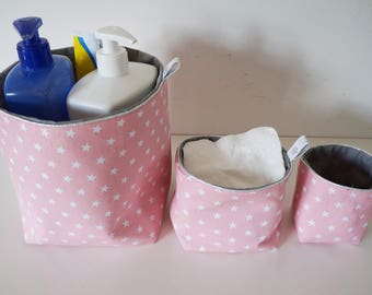 Set of 3 reversible fabric baskets