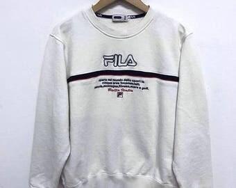 20% OFF Fila Sweatshirt Vintage Fila Sweater Sweatshirt Spell Out Fila Big Logo Longsleeve Fila Biella Italia Swag Hip Hop
