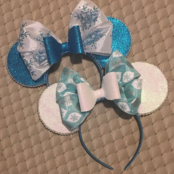 Snowflake holiday Disney mickey Minnie Mouse ears