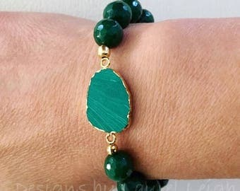 GREEN Malachite and JADE Beaded Bracelet | emerald, stretchy, gold, Designs by Laurel Leigh