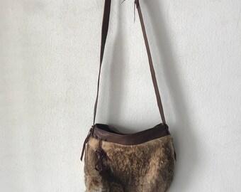 Hand made rabbit fur bag