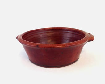 Handmade Pottery Baking Dish, Ceramic Baker with Handles, Red