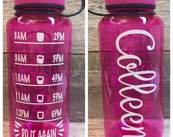 Personalized motivational water bottle, double sided water tracker, personalized water bottle