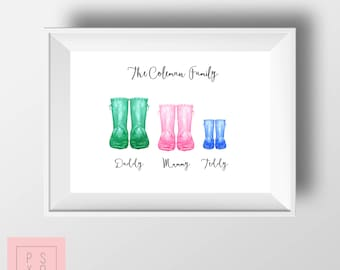 Personalised Family Wellie Boot Artwork, Family Art, Garden Boot Print, Personalised Wellie Boot Family, Gum Boot Family, Watercolour Family
