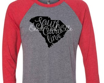 South Carolina state shirt - South Carolina home t-shirt - home shirt - South Carolina baseball shirt - South Carolina raglan shirt