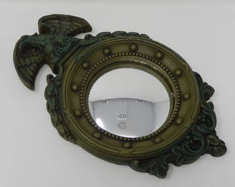 Napoleon style mirror in green patinated plaster, free shipping