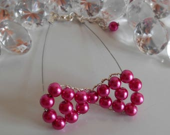 Wedding bow tie fuchsia bracelet