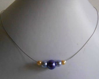 Trendy bridal necklace purple, lilac and yellow