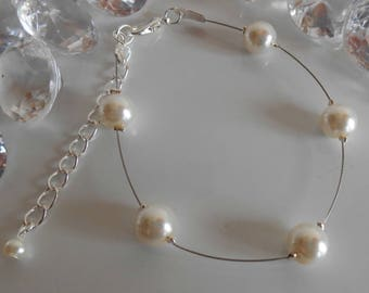 Simplicity wedding bracelet ivory pearls