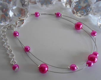 Bracelet wedding 2 row Pearl Fuchsia