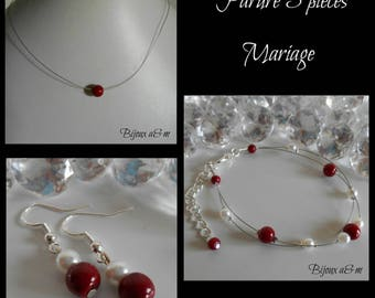 Set of 3 wedding pieces Burgundy and white pearls