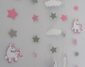 Hanging wall Unicorn wooden float
