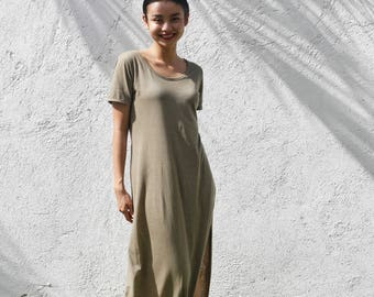 Long t-shirt dress in olive colour