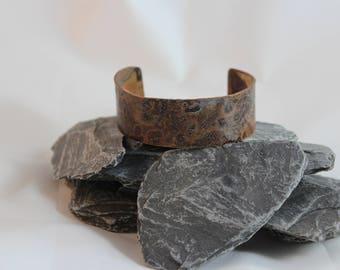 Copper cuff bracelet with nice patina (082017-112)