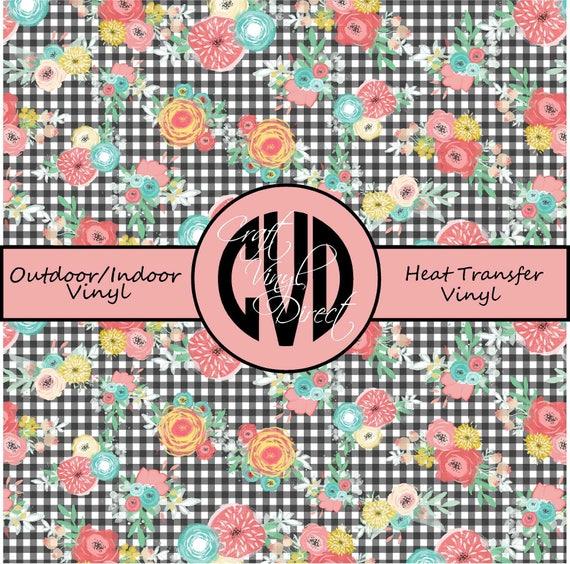 Floral Gingham Patterned Vinyl // Patterned / Printed Vinyl // Outdoor and Heat Transfer Vinyl // Pattern 683