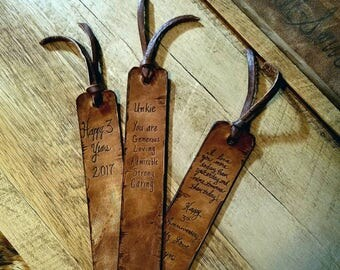 Value 3/65.00 Specialty Gifts Personalized Leather Bookmark 3rd Anniversary Gift Third Anniversary Vintage Brown Custom Leather Bookmark