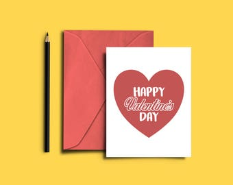 Happy Valentine's Day (Heart) Card | 5x7 Printable
