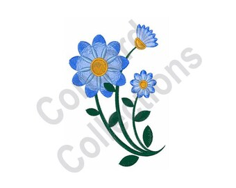 Blue Flowers - Machine Embroidery Design, Flowers - Machine Embroidery Design