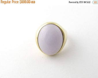 Christmas in July Sale Vintage 14 Karat Yellow Gold Jadeite Ring Size 10.25 #1441