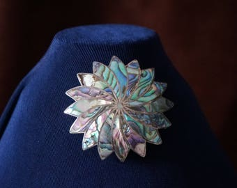 Beautiful Mother of Pearl Sterling, Abalone Made in Mexico ICM brooch-pendant, elegant and trendy