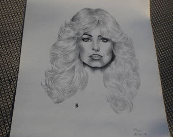 vintage Farrah Fawcett portrait  black and white Farrah Fawcett portrait print by SJB 1978  155/ 200 14 x 11 poster , signed numbered art