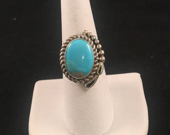 Native American Navajo Turquoise and Sterling Silver Ring Size 8