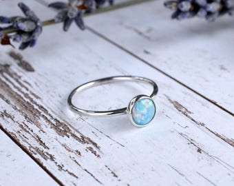 Cornflower Blue Opal Ring 925 - Stacking Ring - Inspiration & Creativity - Fire Opal - Alternative Engagement - October Birthstone