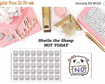 40% Off Sale Sheila the Sheep Not Today//Planner Character Stickers//EC//HP