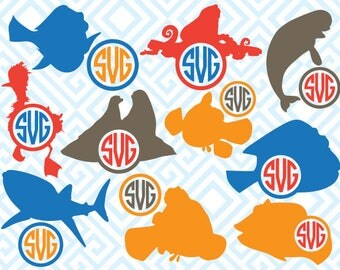 Finding Dory Monogram, Digital Cuting Files, Svg Files for Silhouette, Cricut, Dory SVG, Nemo Monogram, Finding Nemo SVG, 08luna