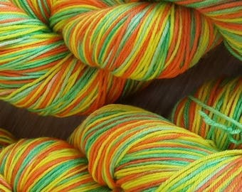 100g 4 Ply Merino/Nylon Hand Dyed Sock Yarn - Stripey Citrus Grove