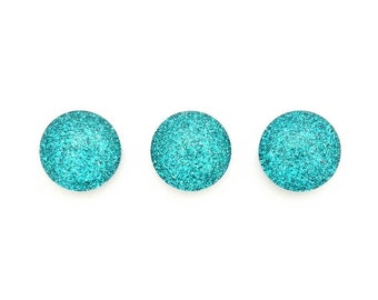 Teal Glitter Magnets, Magnet Set, Glitter, Small Magnets, Party Favor, Refrigerator Magnets, Small Gift, Office Decor, White Board Decor