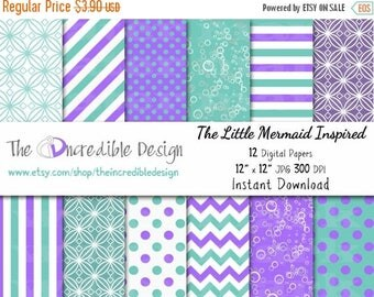 50% OFF SALE The Little Mermaid Inspired digital paper pack for scrapbooking, Making Cards, Tags and Invitations, Instant Download