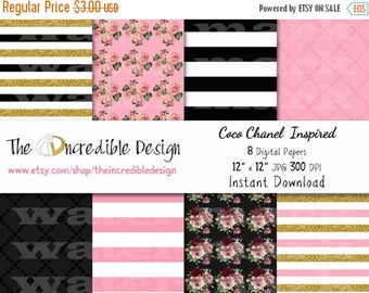 50% OFF SALE Coco Chanel Glitter Inspired digital paper pack for scrapbooking, Making Cards, Tags and Invitations, Instant Download